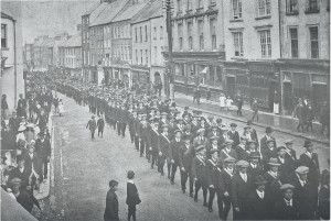 Kilkenny Irish National Volunteers Parading along High Street
